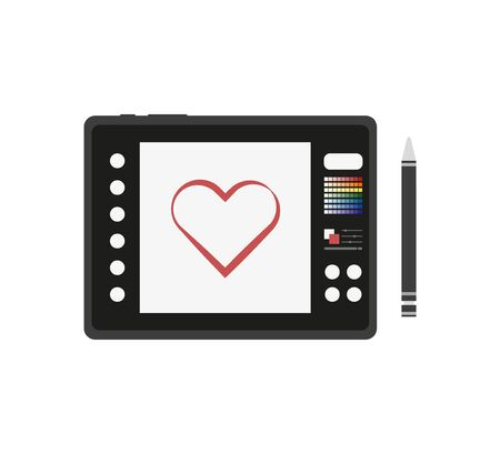 designer graphics tablet with a stylus in flat Stock Illustratie