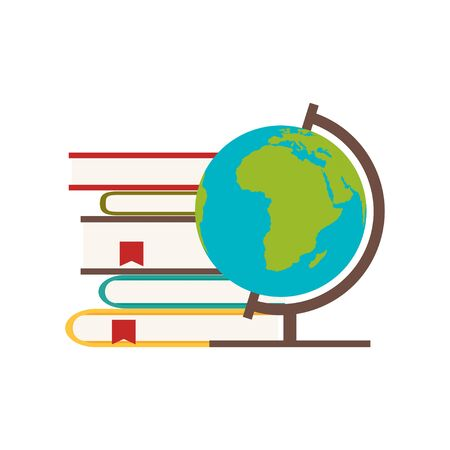 school books and globe in flat style, vector