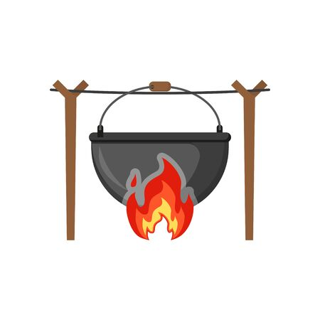 cauldron on fire in the forest in flat style