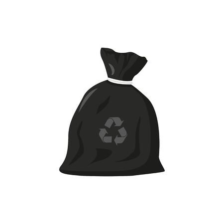 eco friendly trash bag in flat style, vector