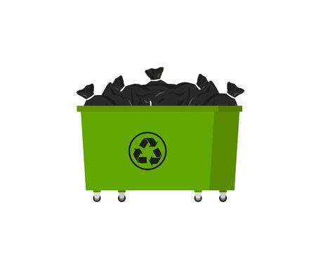green trash bin in flat style, vector illustration