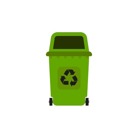 plastic tank for trash, environmental protection in flat style