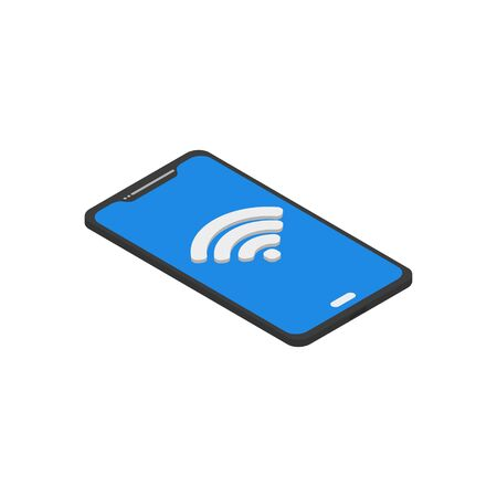 technology phone with Wifi flat isometry, vector