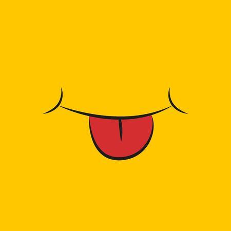 smile and tongue on a yellow background, flat Ilustração