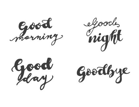 set lettering good morning day night and goodbye Stock Illustratie