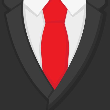 formal suit and red tie in flat style