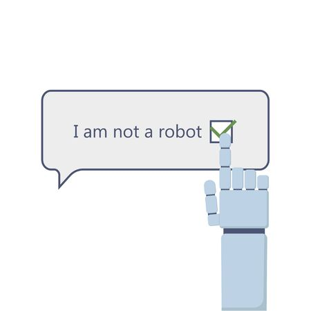 I am not a robot and robot arm icon illustration