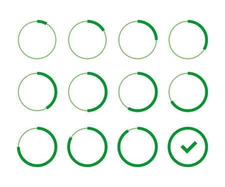 set loading green circle in flat style, vector