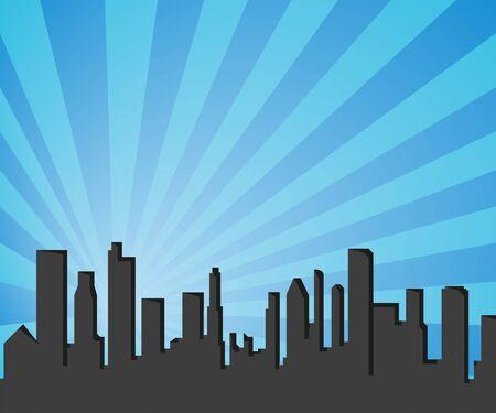silhouette city in pop art style, vector illustration Ilustracja