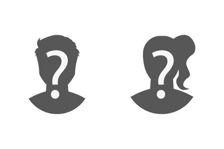 silhouettes of man and woman question mark, vector