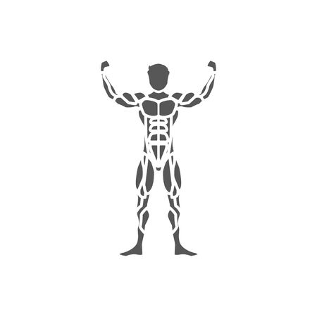 muscle man black icon on a white background