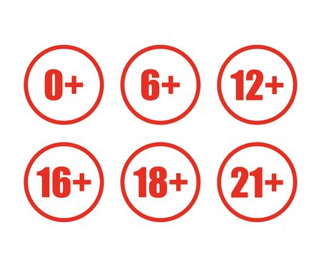 sat red icon age limit in flat style 向量圖像