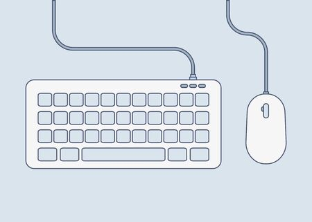 keyboard and mouse color icon in flat style Stock Vector - 128901673