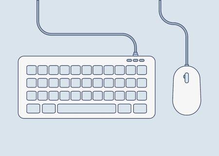 Tastatur- und Mausfarbsymbol im flachen Stil