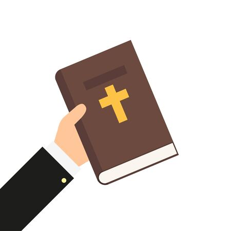 bible book in hand in flat style, vector