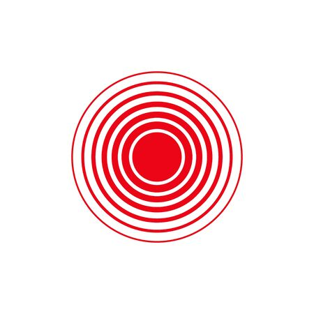 isolated vector red ring, pain circle in flat