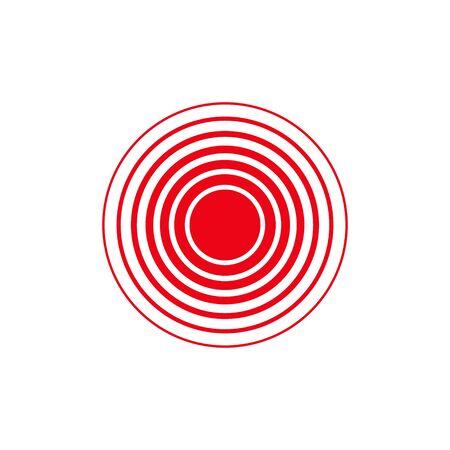 vettore isolato anello rosso, cerchio del dolore in piano