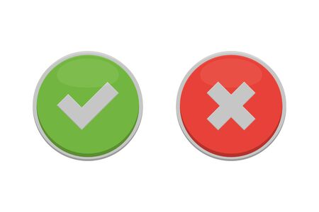 white cross and check mark icons, flat square buttons 向量圖像