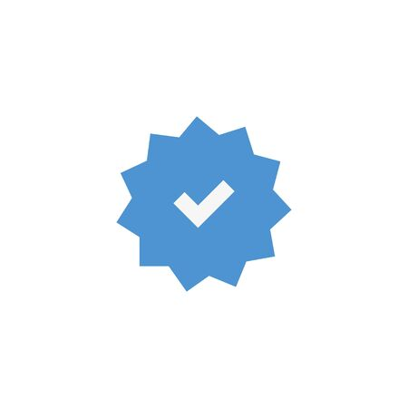 vector icon check on blue background, flat image mark