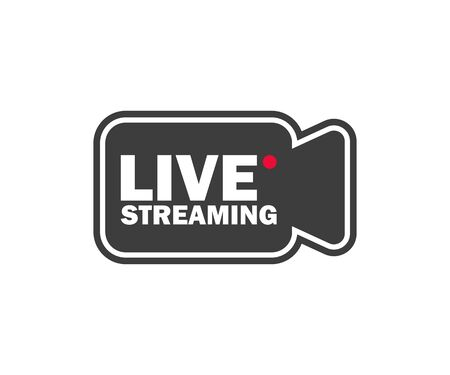 online video stream color icon in flat style Stock Illustratie
