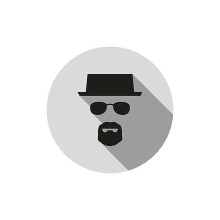incognito mode, silhouette of man in glasses and hat