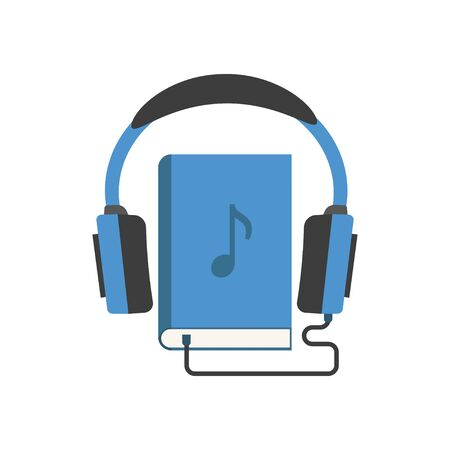 color audio book icon in flat style, vector illustration