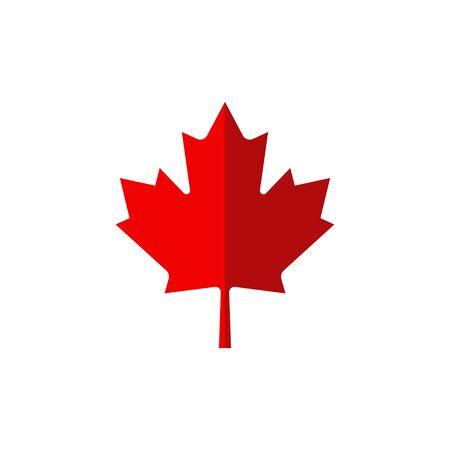 hoja de arce canadiense en estilo plano, ilustración vectorial