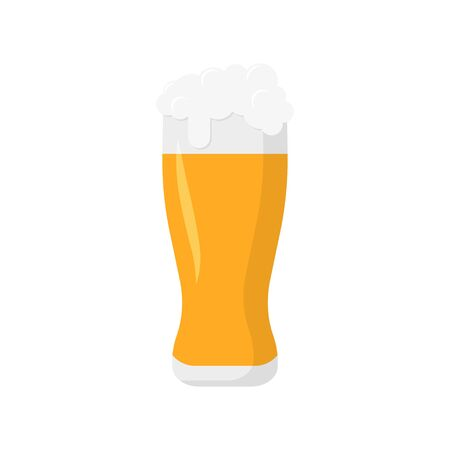 alcohol, beer glass in flat style, vector illustration
