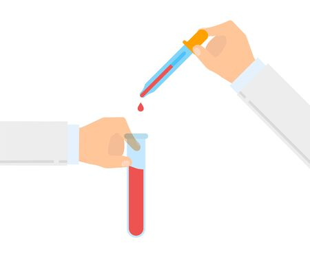 laboratory, test tube and pipette inhand, flat design