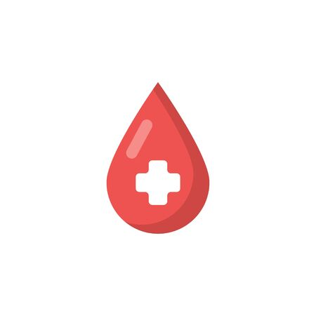 red blood drop flat icon on white background Illusztráció