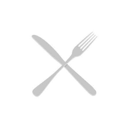fork and knife flat style color icon, vector