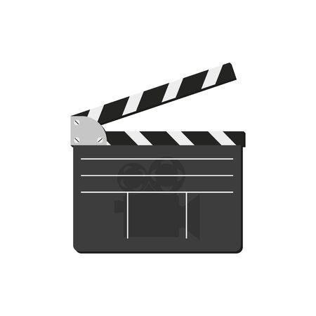 cinemas clapper in flat style on white background Vektorové ilustrace
