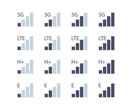 internet level mobile communications set of icons, vector Иллюстрация
