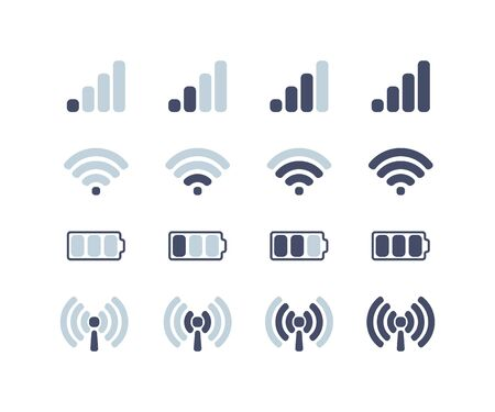 mobile communications, internet and battery icons set, flat