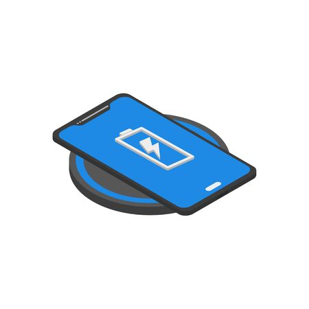 phone wireless charging in isometric flat style, vector