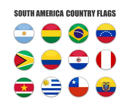 web buttons with south america country flags in flat Ilustração