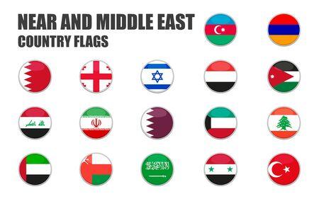 boutons web avec drapeaux des pays proches et moyens, plats