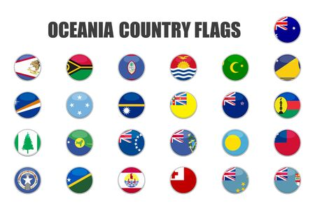 web buttons with oceania country flags in flat Illustration