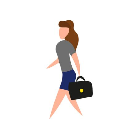 business woman with a briefcase in flat style, vector Иллюстрация