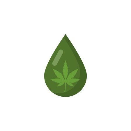 drop of marijuana drug in flat style, vector illustration