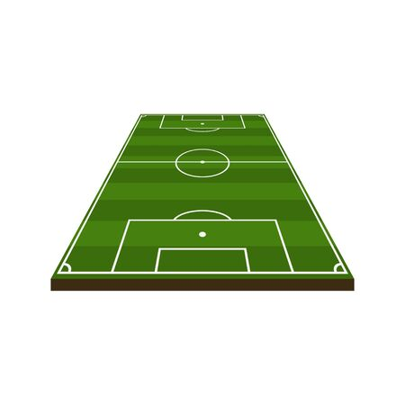 3d soccer field diagram in flat style, vector illustration