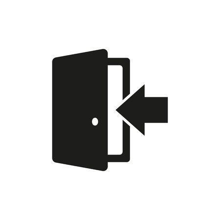 door black icon exit button icon, vector illustration
