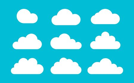 set of clouds on a blue background in flat style, vector illustration