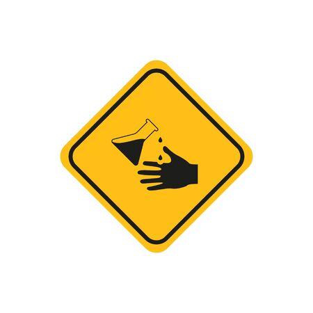 symbol caution acid and chemical burn icon, flat