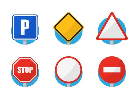 road signs set color icons in flat style