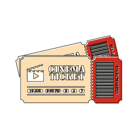 movie tickets in flat style color icon, flat