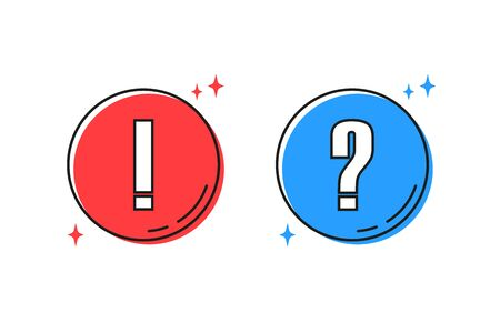 question and exclamation marks color icon, vector illustration Stock Illustratie