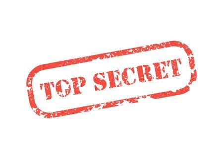 grunge office rubber stamp top secret in flat, vector