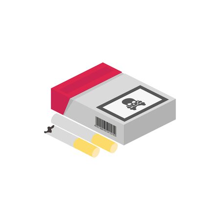 isometric cigarette pack in flat style, vector illustration