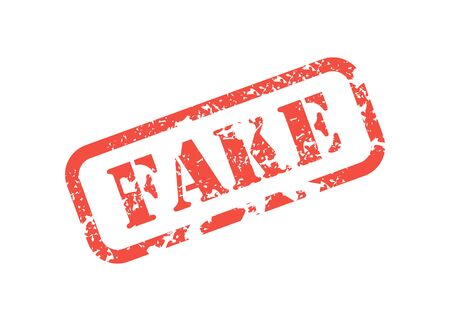 red stamp inscription fake for documents shabby in flat